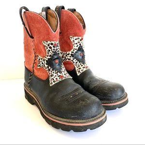Ariat Fatbaby Red Cheetah Print Cross Cowboy Boots